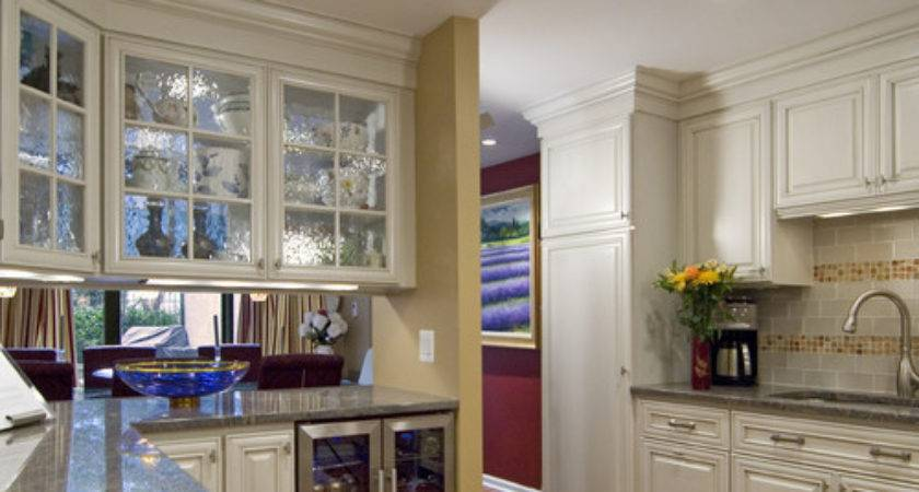 Double Sided Glass Cabinets Above Island