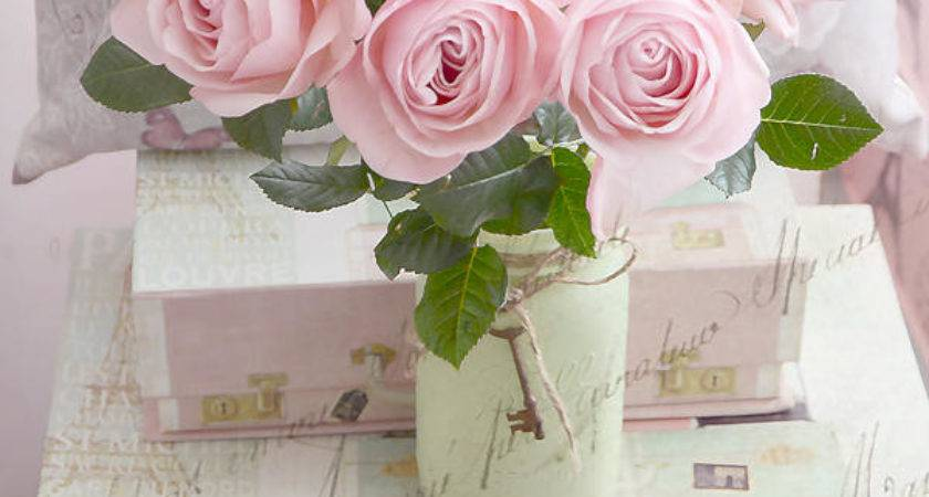 Dreamy Shabby Chic Cottage Pink Teal Romantic Floral