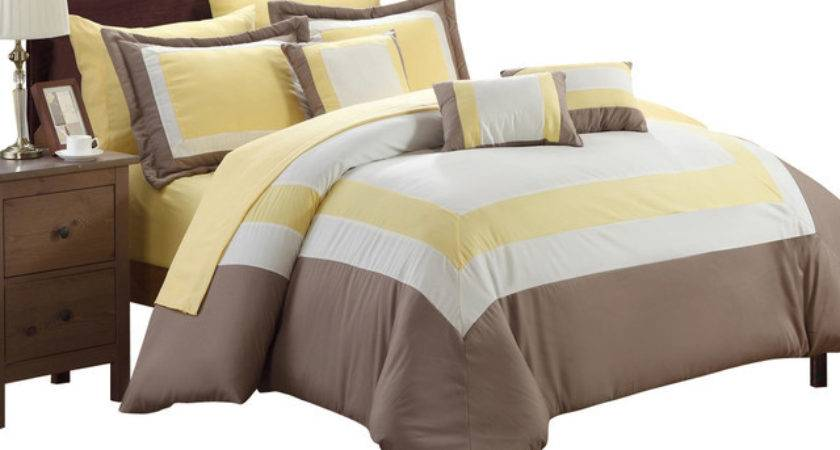 Duke Yellow White Taupe Queen Piece Comforter Bed