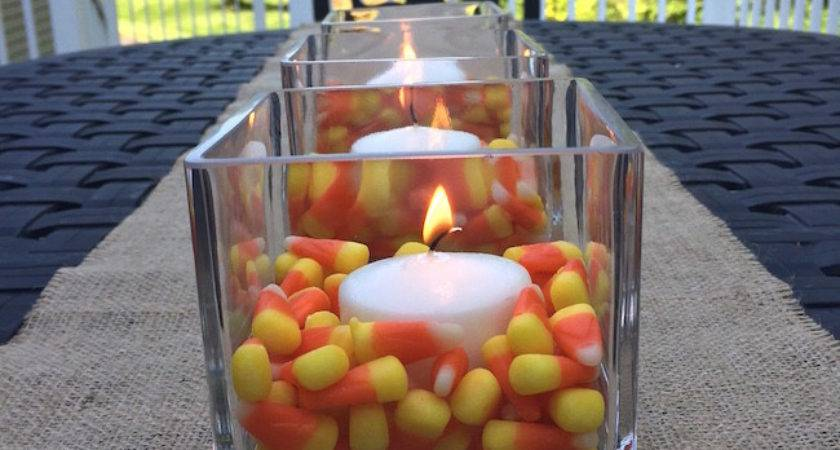 Easy Candy Corn Candle Centerpiece