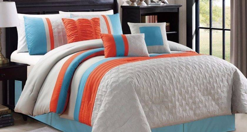 Embossed Bedding Blue Grey Orange Striped King