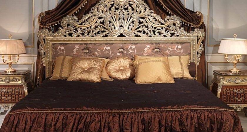 Emperador Gold Louis Bedroom Carved Bed