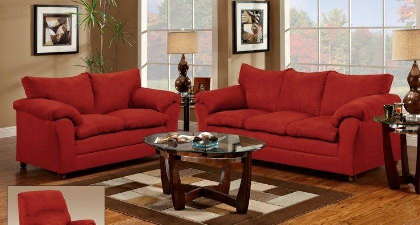 Endearing Red Living Room Chairs Couch Loveseat
