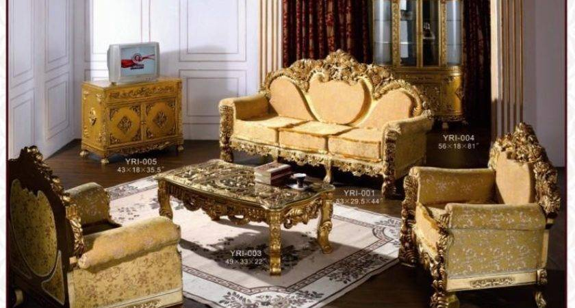 European French Gold Color Rococo Style Luxury Sofa Set