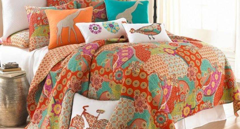 Exotic Moroccan King Quilt Shams Set Orange Aqua Teal