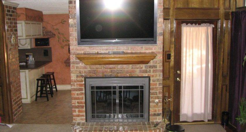 Exposed Brick Over Mantle Fireplace Wall Mounted
