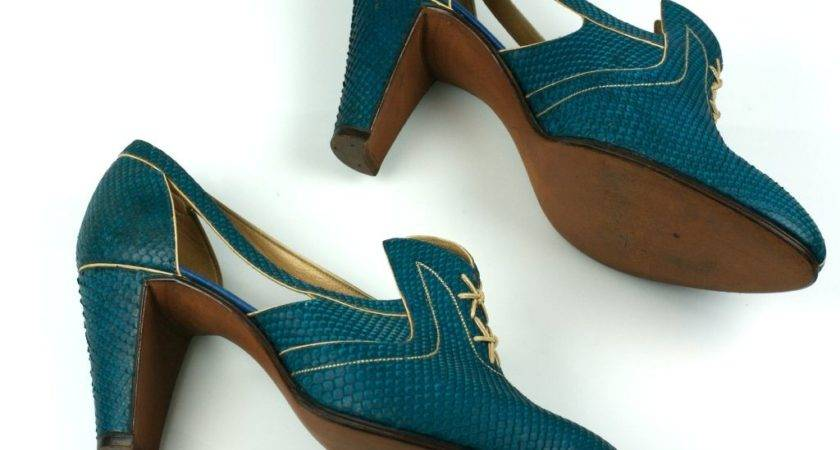 Extraordinary Electric Blue Snakeskin Art Deco Shoes