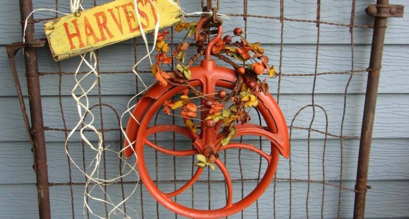 Fall Junk Decorating Orange Pulley Organized Clutter