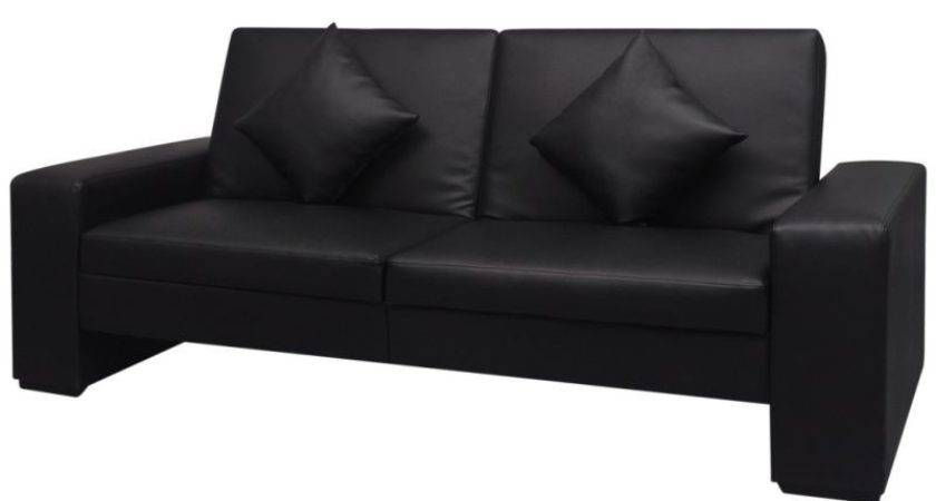 Faux Leather Sofa Bed Throw Pillows Black Buy