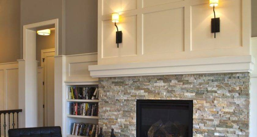 Fireplace Ideas Tile Bottom Simple Mantle Over
