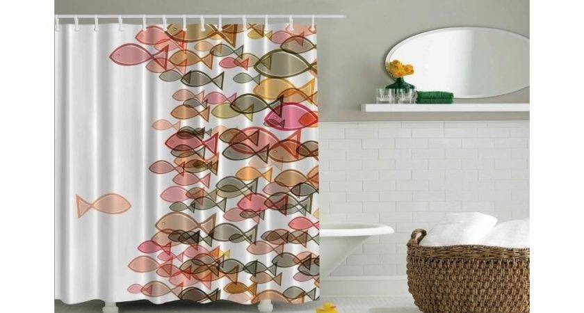 Fish Design Nautical Themed Shower Curtain