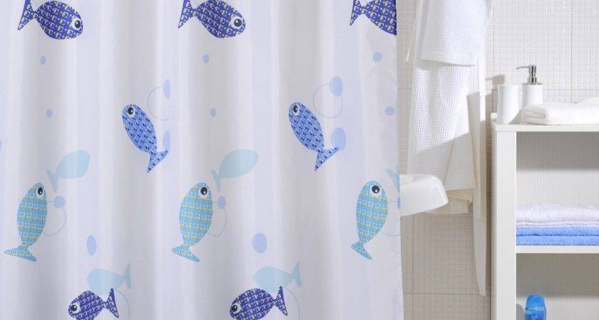 Fish Shower Curtain Black White Tropical