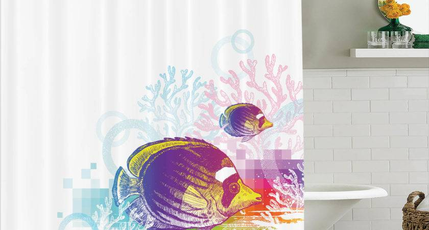 Fish Shower Curtain Sea Animals Themed Kids Bathroom Decor