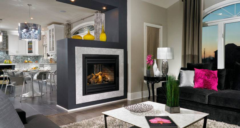 Floating Fireplace Basement Contemporary Blue