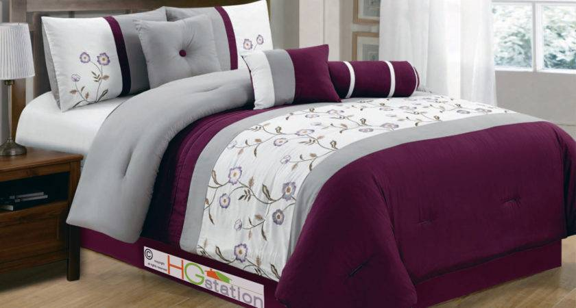 Floral Striped Pleated Embroidery Comforter Set Purple