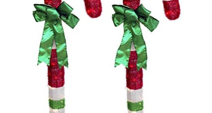 Foot Lighted Tinsel Candy Cane Outdoor Christmas Lights