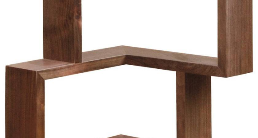 Franklin Corner Shelf Walnut Modern Display Wall