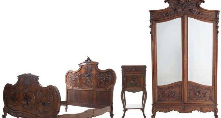 French Century Louis Walnut Piece Bedroom Set
