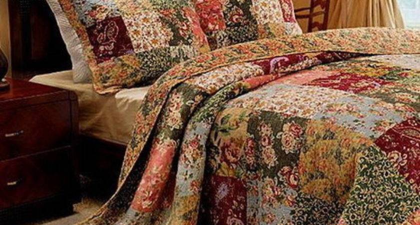 French Country Patchwork Quilt Bedspread Set Oversized