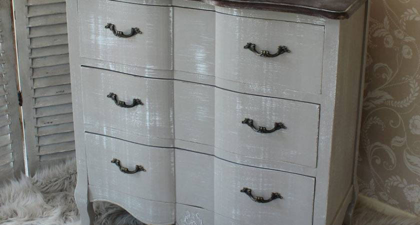 French Grey Vintage Style Chest Drawers Home Bedroom