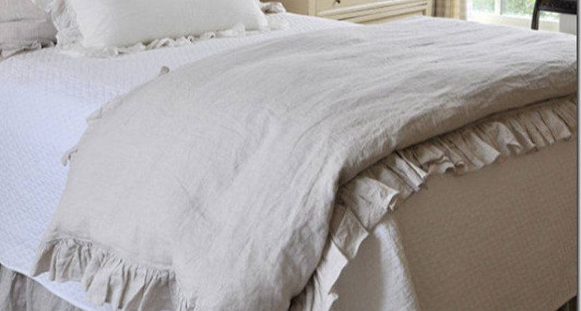 French Ruffled Washed Linen Duvet Cover King