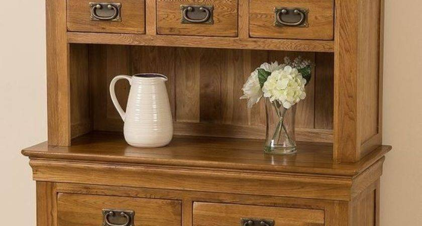 French Rustic Solid Oak Small Welsh Dresser Cabinet Wall