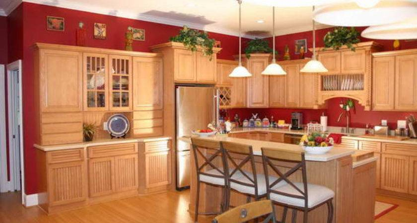 Fresh Red Kitchen Paint Within Walls Oak Cabin