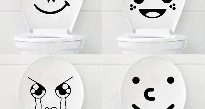 Funny Cartoon Smile Cry Face Toilet Seat Stickers Bathroom