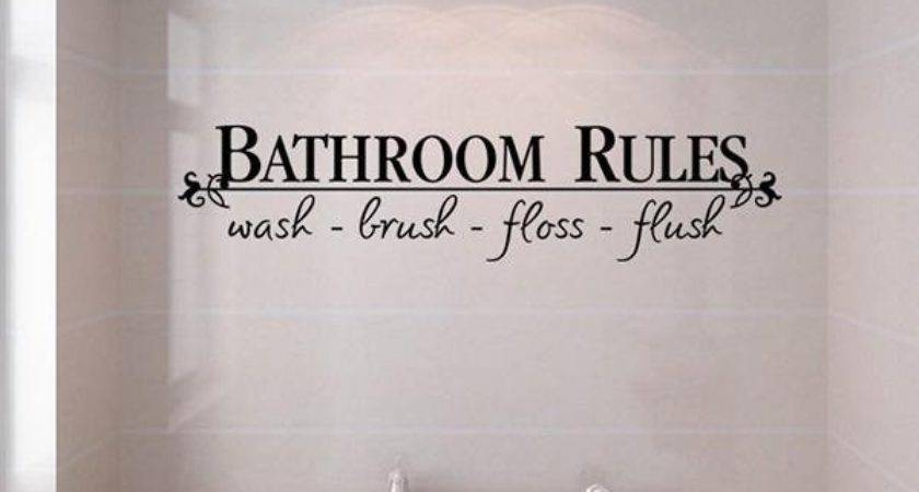 Funny Words Quotes Bathroom Rules Removable Wall