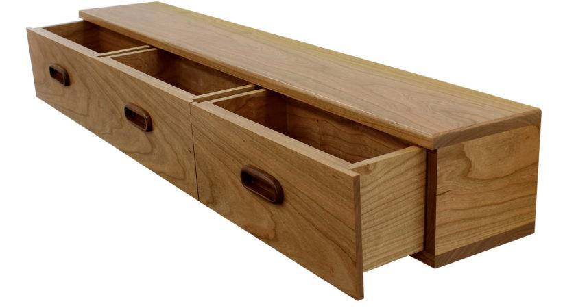 Furniture Brown Stained Wood Wall Shelf Two Storage
