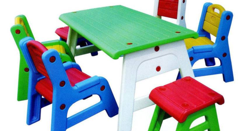 Furniture Green Wooden Childrens Tables White Base
