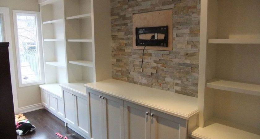 Furniture White Varnished New Built Wall Units
