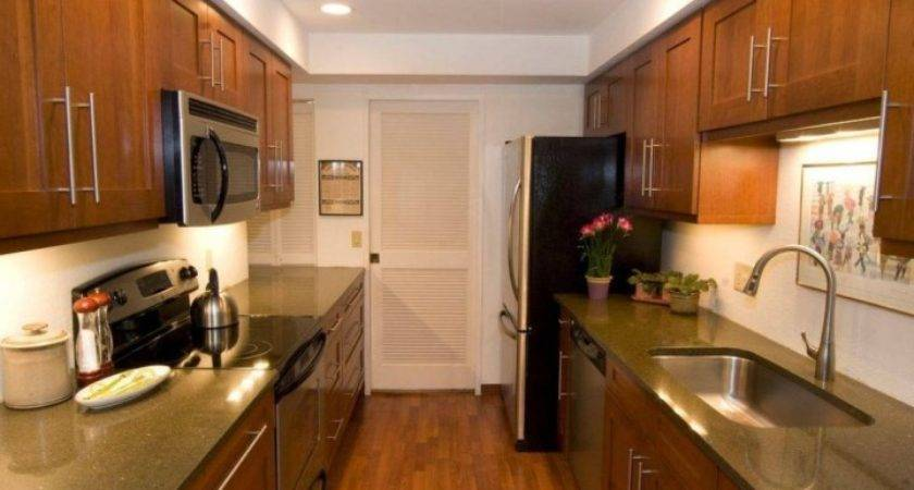 Galley Kitchen Makeovers Mixed Traditional Modern