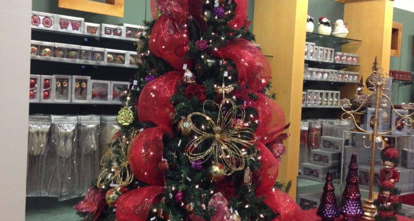 Garden Themed Christmas Tree Red Purple Gold