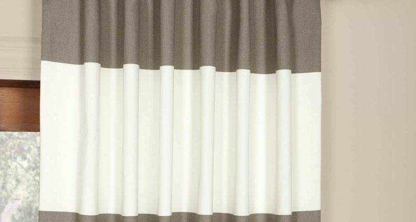 Get Slate Grey Off White Horizontal Stripe Curtain
