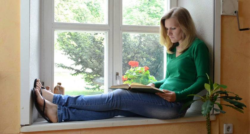Girl Sitting Window Sill End Reading Book Close