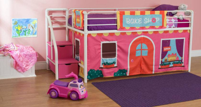 Girls Bakeshop Twin Loft Bed Storage Steps Pink