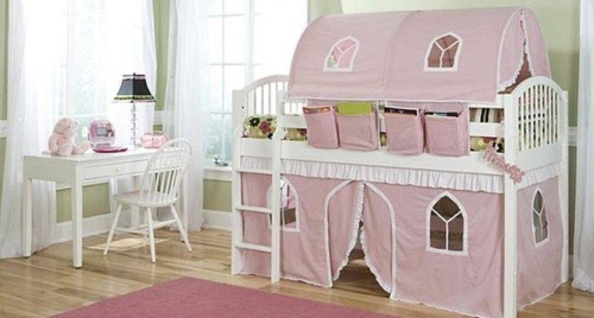 Girls Junior Twin Pink White Loft Bed Canopy
