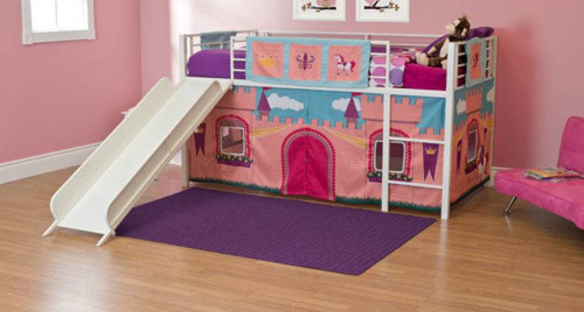 Girls Princess Castle Twin Loft Bed Slide White