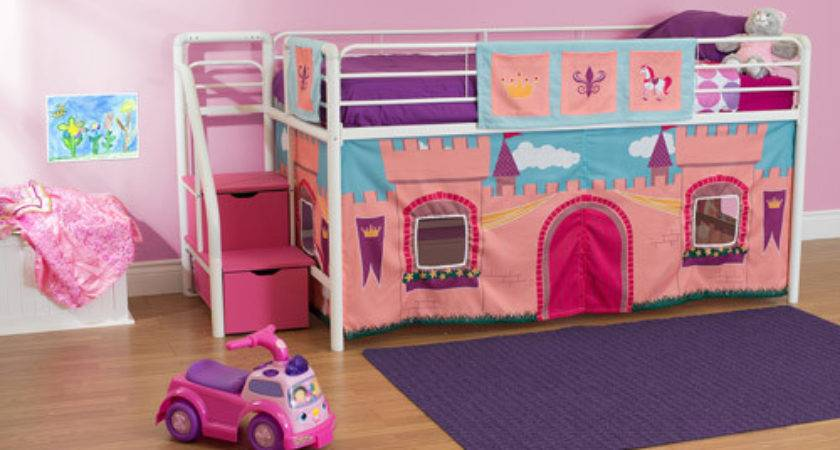 Girls Princess Castle Twin Loft Bed Storage Steps
