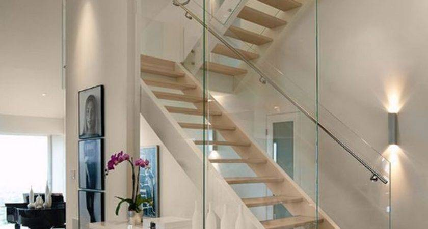 Glass Staircase Wall Designs Graceful Impact