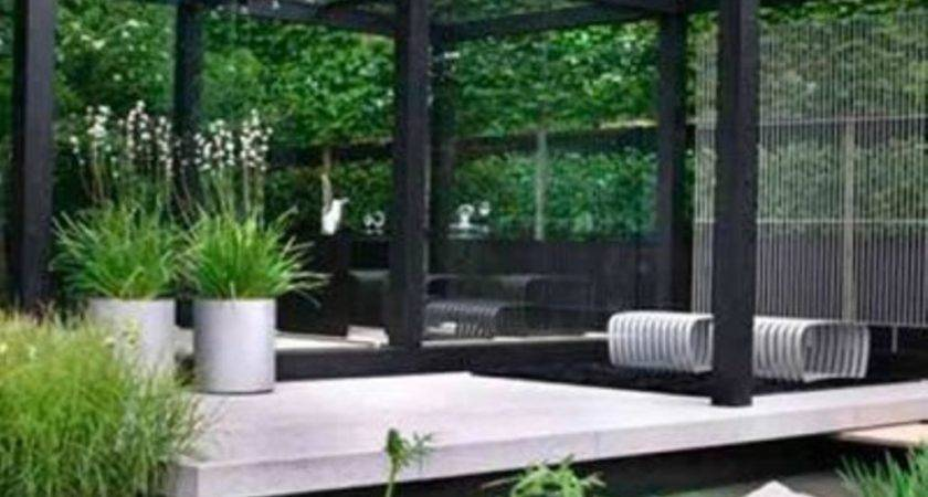Glass Walls White Deck Contemporary Garden Design