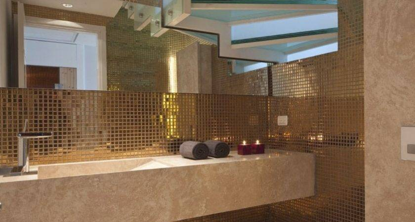 Gold Bathroom Mosaic Tile Design Interior Ideas