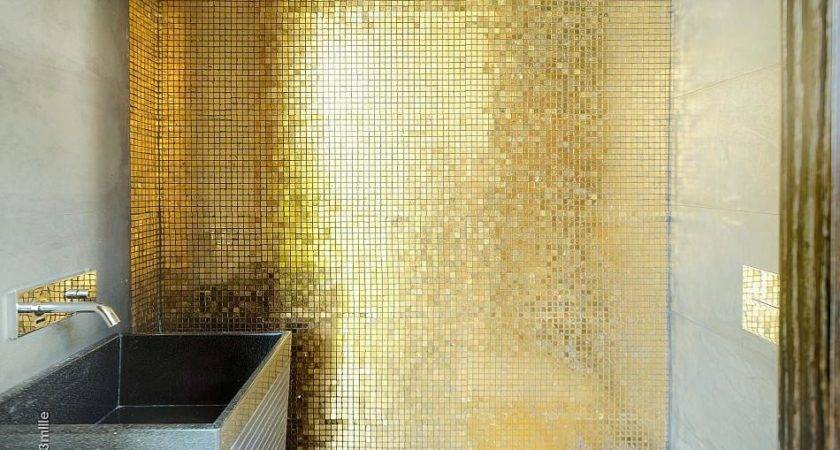 Gold Mosaic Tiles Interior Design Ideas