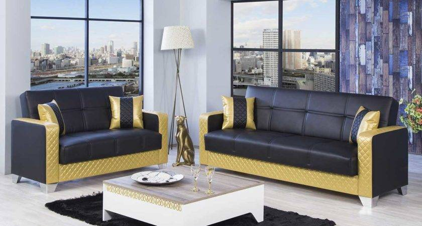 Gold Sofa Living Room Brown Chenille Classic