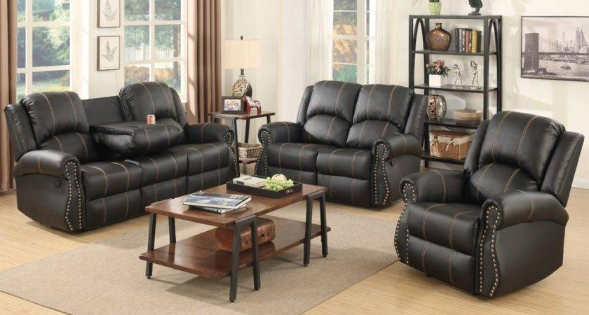 Gold Thread Sofa Set Loveseat Couch Recliner Leather