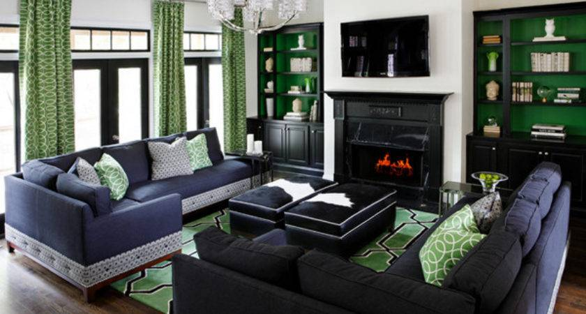 Gorgeous Black Green Living Rooms Home Design Lover
