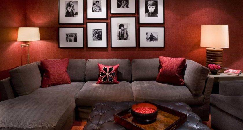 Gorgeous Modern Interior Brown Sofa Red Walls
