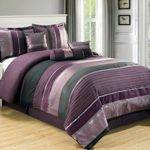 Grand Linen Oversize Eggplant Comforter Set Purple Black