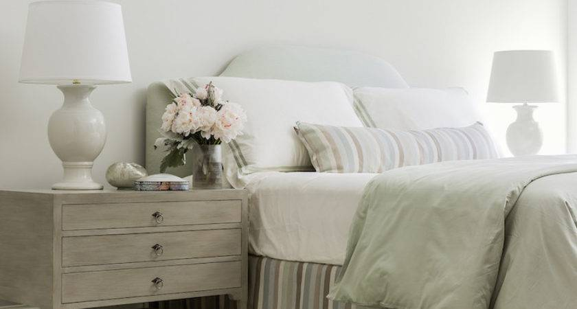 Gray Bedside Table Transitional Bedroom